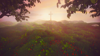 Cross on early morning landscape