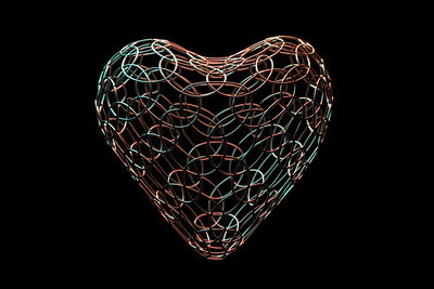 Abstract heart with metal wires. 3D illustration