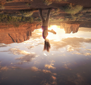 Woman on upside down world
