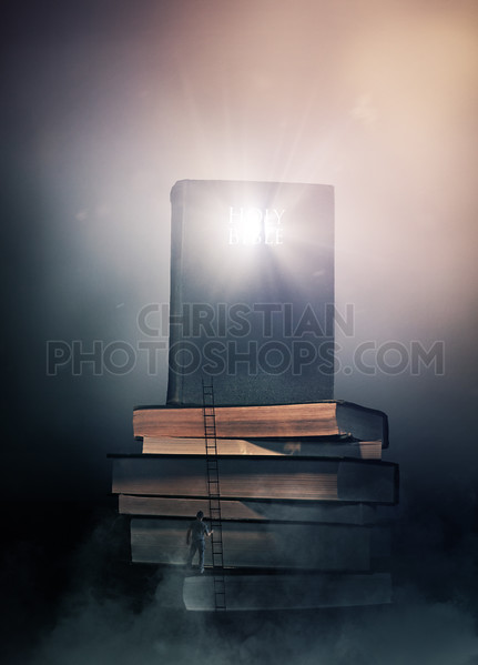 Glowing Bible on stack of books