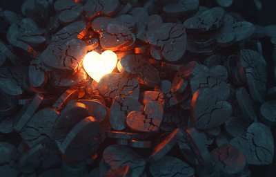 Glowing Heart with Broken Hearts