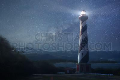 A lighthouse under night sky