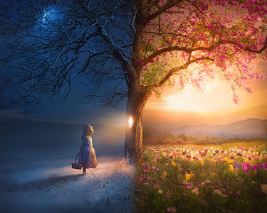 Little Girl and Surreal Scene