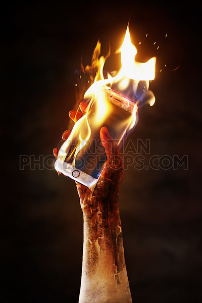 Burning cell phone