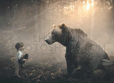 Little girl and bear