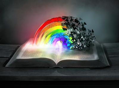 Broken Rainbow over Bible