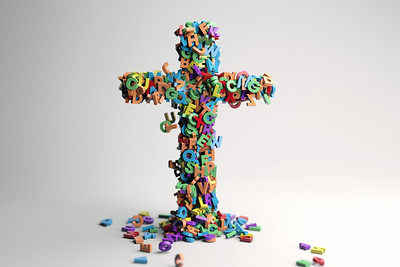 Cross made up of letters