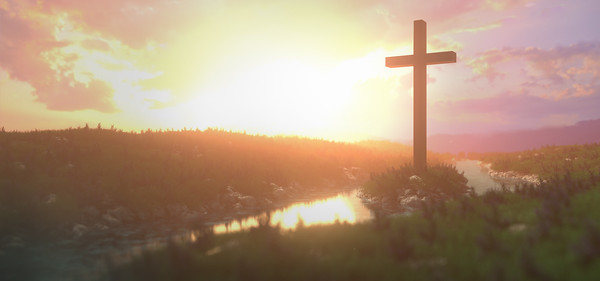 Panorama Background with Cross