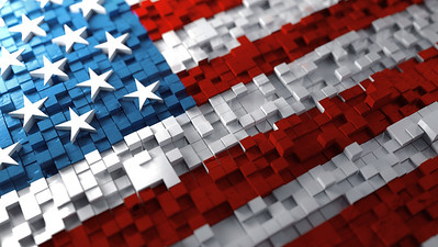 American flag made of cubes