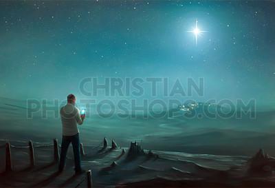 Man and the Christmas star