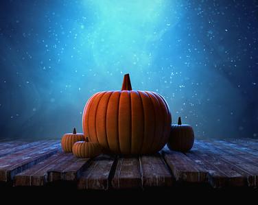 Pumpkins under night sky