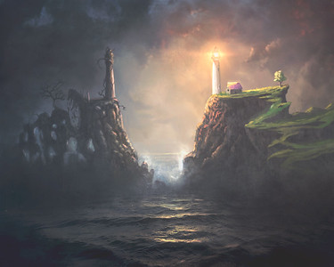 Two Light houses Digital Painting