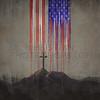 American flag and cross