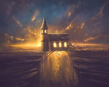 Digital Painting of a Broken Church