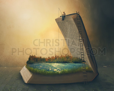 Fishing inside a book