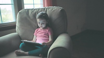 Little girl on Tablet