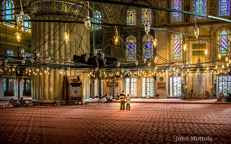 Inside the beautiful Blue Mosque, Istanbul