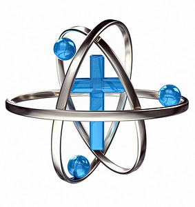 Blue Cross with atomic rings and electrons
