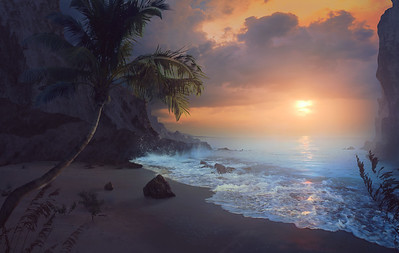Peaceful sunrise over the ocean