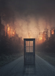 Door leading to a burning city