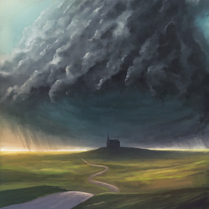 Digital illustration of a large storm over a church
