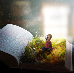 Little girl lost in the pages
