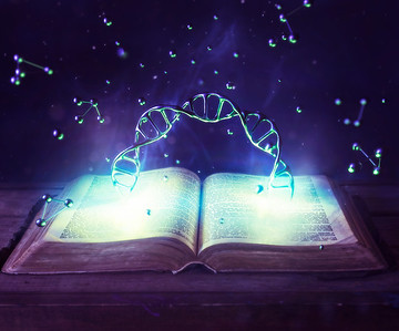 DNA strand and open Bible.