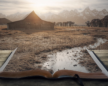 Peaceful landscape on book
