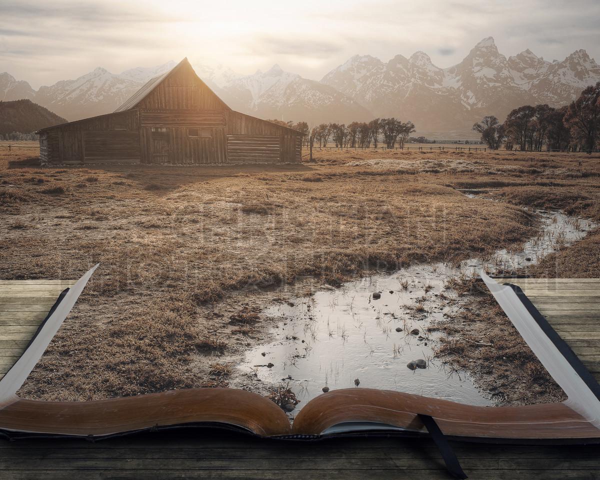 Peaceful landscape on book