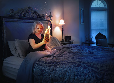 Woman with burning phone