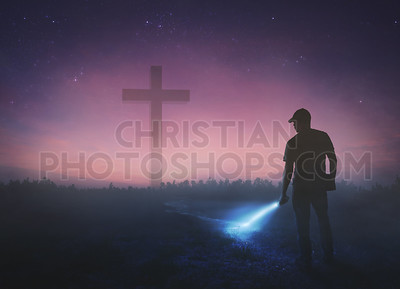 Man looking for cross
