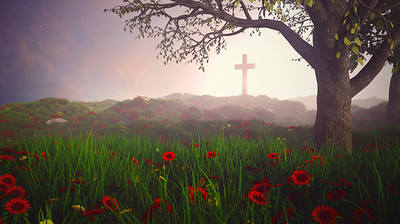 Beautiful landscape with cross