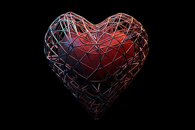Abstract heart with a cage. 3D illustration