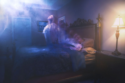 Woman's Spirit ascending from bedroom
