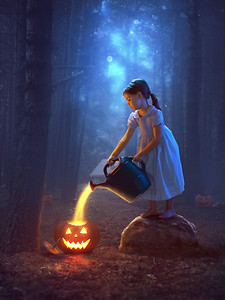 Girl and glowing pumpkins