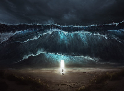 A man finds safety in the storm