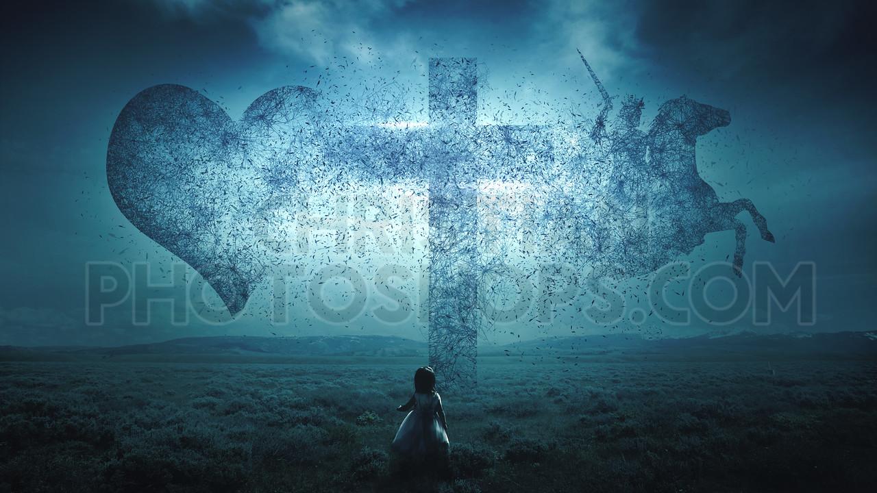 Christian cross exploding
