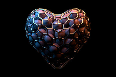 Abstract heart full of balls. 3D Illustration