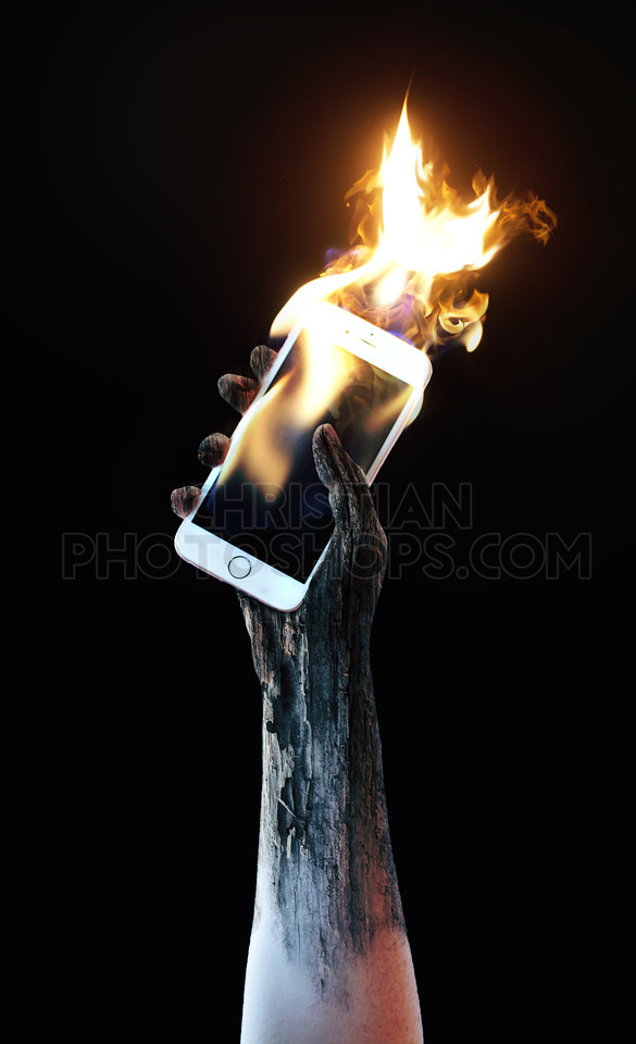 Holding a burning cell phone