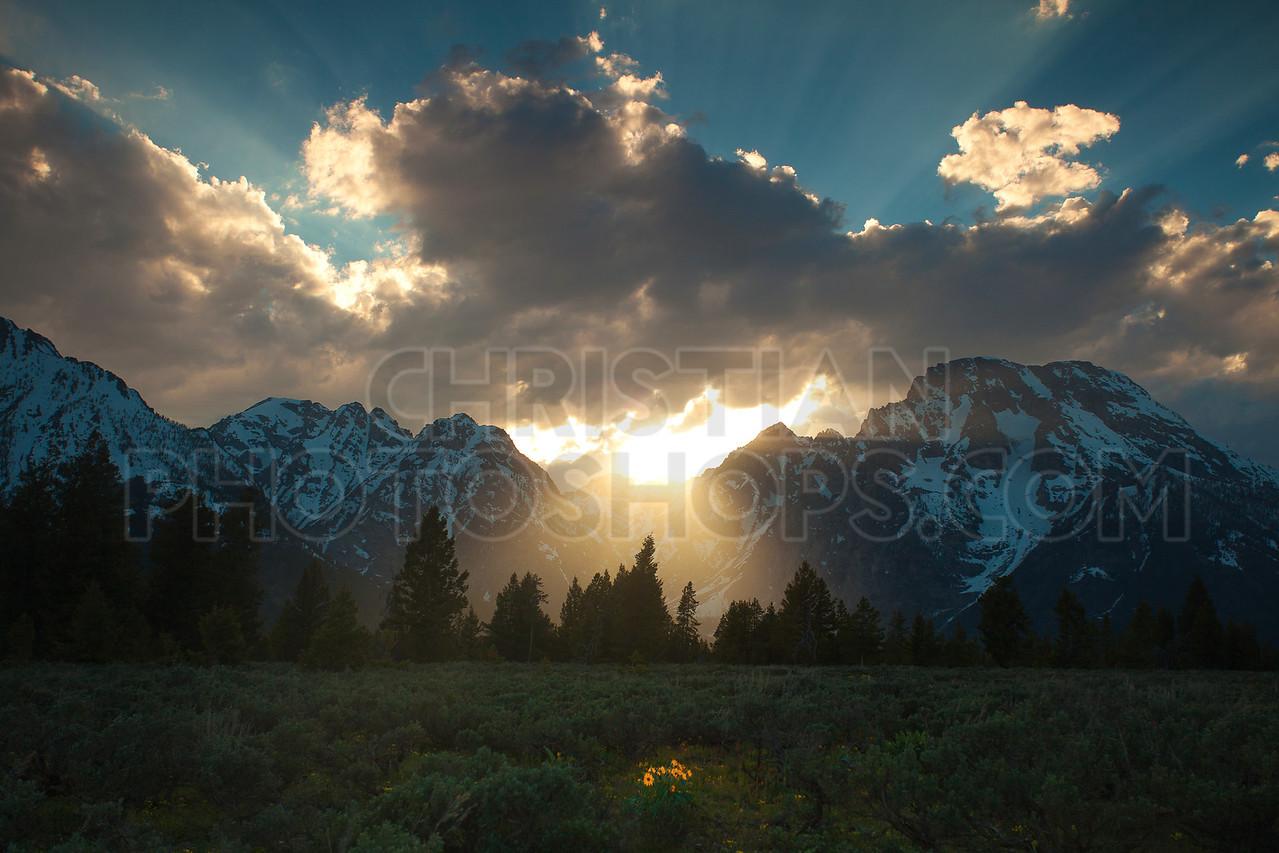 Sunset at the Grand Tetons