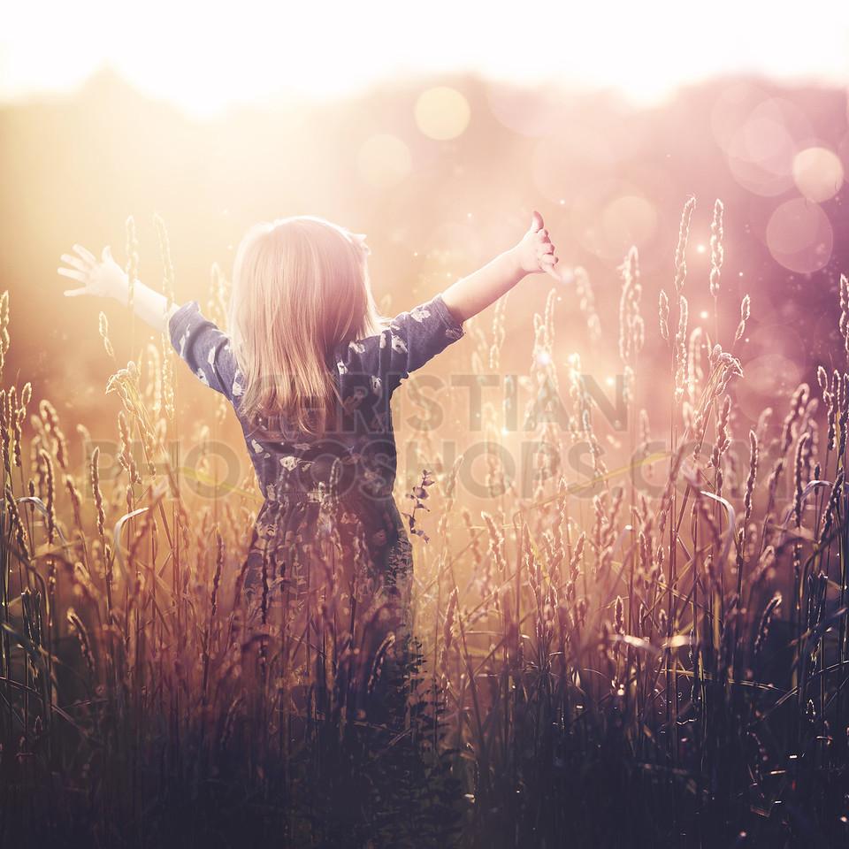 Young girl praising
