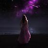 Woman and shooting stars.