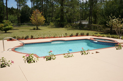 Pool, deck and yard