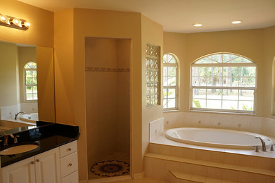 Master bath with shower and Jacuzzi tub. Counter top left