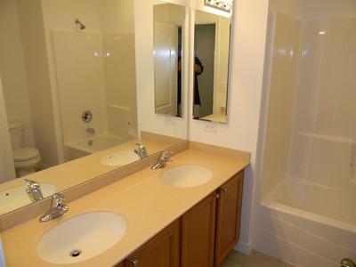 Spare Bathroom Has Dual Sinks
