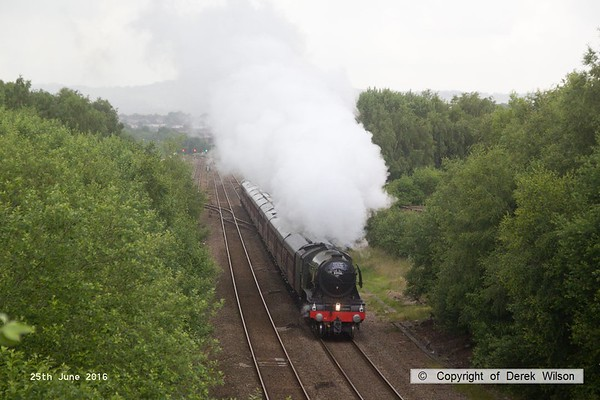 160625-006     LNER A3 4-6-2 no 60103 Flying Scotsman is seen pulling away from Barrow Hill after stopping to take on water whilst powering 'The Yorkshireman', RYTC charter 1Z24, 06.27 London Victoria to York.