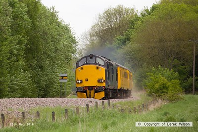 160520-013     Europhoenix class 37/6 no 37608 is seen leading test train 1Q78, 08.54 Derby RTC to Derby RTC as it passes Boughton Junction, on the High Marnham Test Track. Direct Rail Services class 37/6 no 37602 was bringing up the rear.