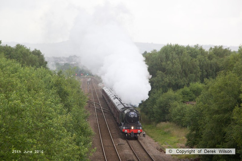 160625-002     LNER A3 4-6-2 no 60103 Flying Scotsman is seen pulling away from Barrow Hill after stopping to take on water whilst powering 'The Yorkshireman', RYTC charter 1Z24, 06.27 London Victoria to York.