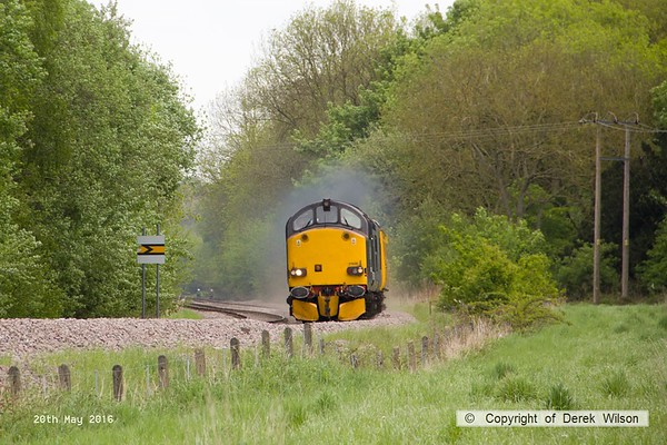 160520-012     Europhoenix class 37/6 no 37608 is seen leading test train 1Q78, 08.54 Derby RTC to Derby RTC as it passes Boughton Junction, on the High Marnham Test Track. Direct Rail Services class 37/6 no 37602 was bringing up the rear.