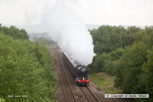 160625-004     LNER A3 4-6-2 no 60103 Flying Scotsman is seen pulling away from Barrow Hill after stopping to take on water whilst powering 'The Yorkshireman', RYTC charter 1Z24, 06.27 London Victoria to York.